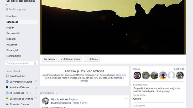 """""""No eres de Orduña si no"""" Facebook taldea itxi du kudeatzaileak, mehatxuak jaso ostean"""
