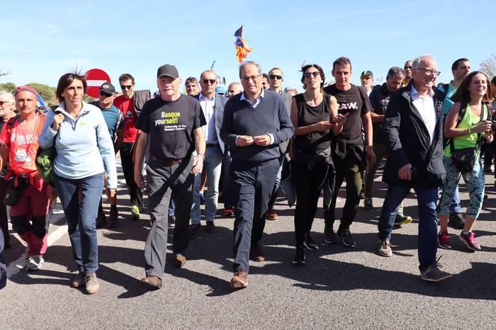 Kataluniako Askatasunaren Martxan parte hartu du Juan Jose Ibarretxek, Quim Torrarekin batera