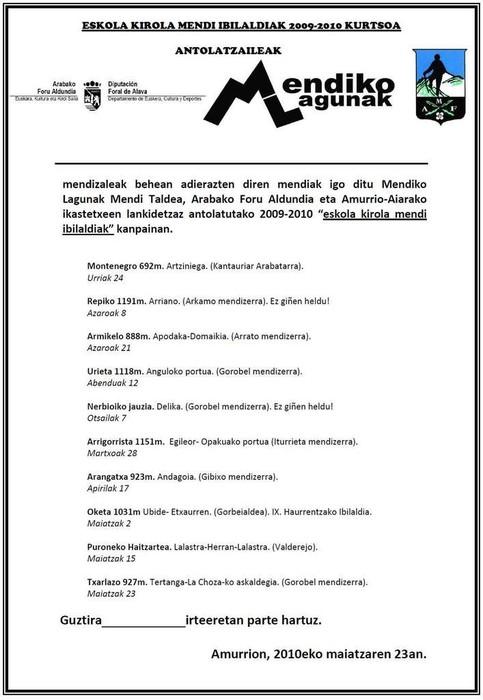 Txarlazora igoz amaitu zituzten igandean Mendiko Lagunak-eko eskola kiroleko gazteek 09-10 kurtsoko ibilaldiak - 5