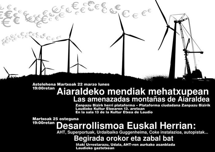 """Zapazu Bizirik: """"Jesuri eta Ganekogortako zentral eolikoak ez dira beste energiekiko alternatibak"""""""
