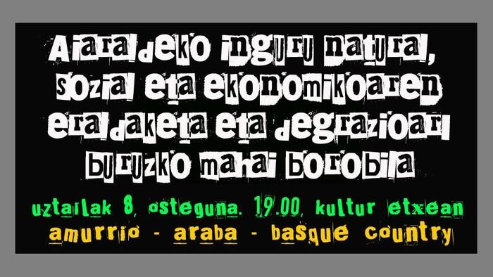 Aiaraldeko inguru natural, sozial eta ekonomikoaren eraldaketa eta degrazioari buruzko mahai-ingurua ostegunean Amurrion