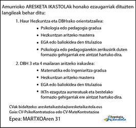 Amurrioko Aresketa Ikastola: lan eskaintzak