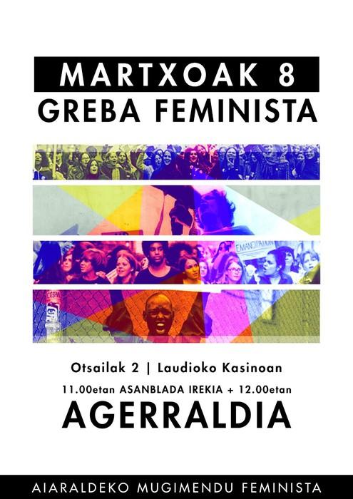 Larunbatean aurkeztuko dugu eskualdeko Greba Feminista!