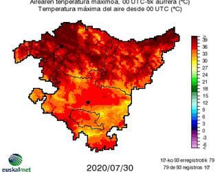 40 graduko tenperatura gainditu du gaur Aiaraldeak