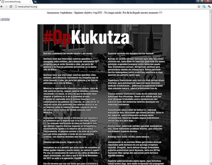 Anonymous sareak Amurrioko Udalaren web gunea hackeatu du Kukutzarekin gertatutakoa salatuz