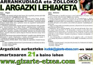 NEGUKO I. ARGAZKI LEHIAKETA