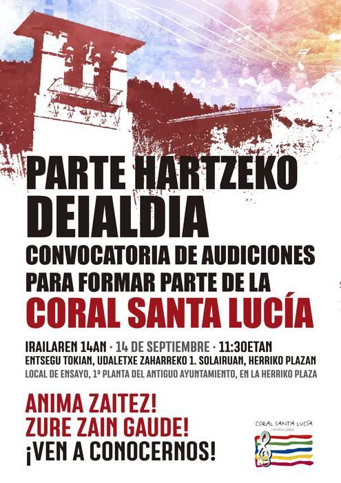 Santa Luzia Abesbatzako entzunaldia kide berriak batzeko