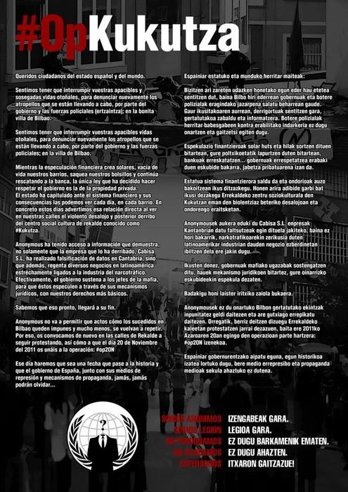 Anonymous sareak Amurrioko Udalaren web gunea hackeatu du Kukutzarekin gertatutakoa salatuz - 1