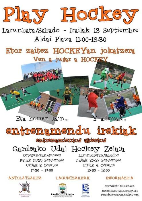 Larunbatean Play Hockey ekintza berria egingo da Aldai Plazan