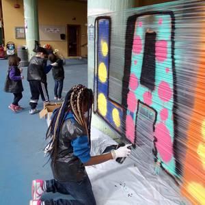 Graffiti tailerra burutu dute Lamuza Ikastetxean