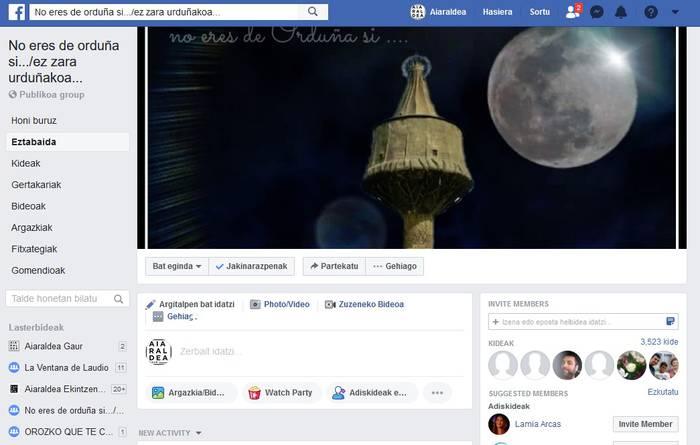 """""""No eres de Orduña... / Ez zara Urduñakoa"""" Facebook taldea ireki dute berriro, kudeatzaile eta arau berriekin"""