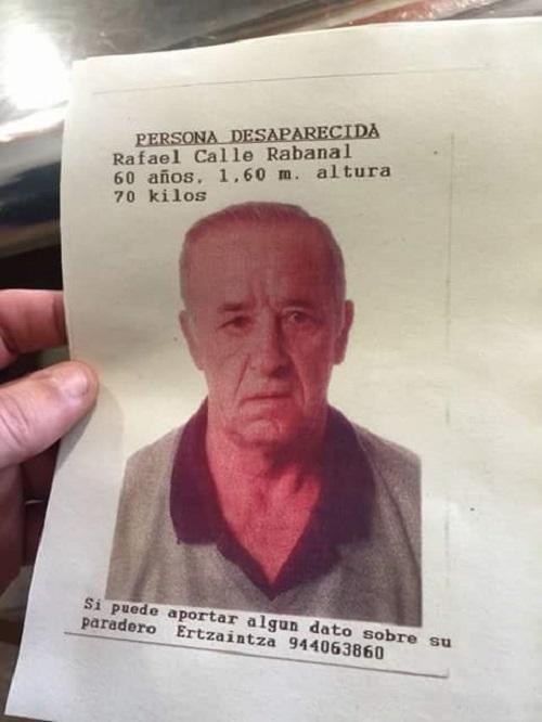 Hilik aurkitu dute desagertutako Rafael Calle laudioarra