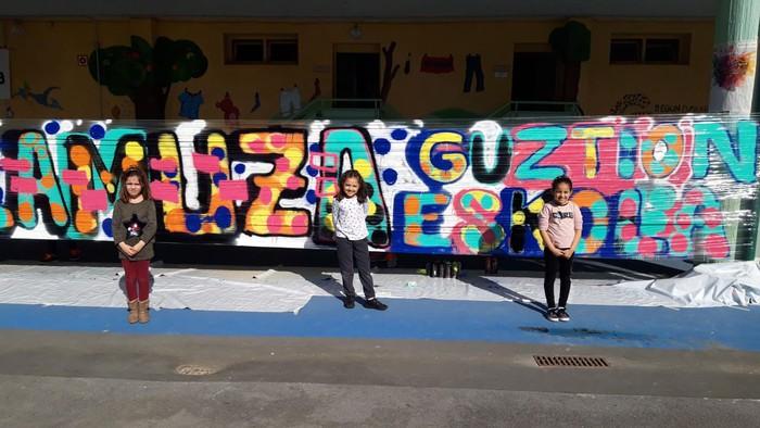 Graffitia egin zuten atzo Lamuza Ikastetxean - 2