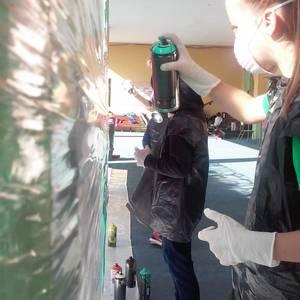 Graffitia egin zuten atzo Lamuza Ikastetxean