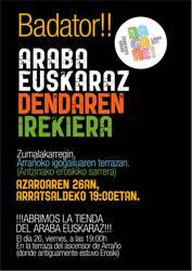Araba Euskaraz 2011ko denda irekiko da ostiralean