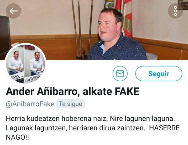"""EAJ: """"Onartezina da profil faltsua sortzea Ander Añibarro alkatea sare sozialetan barregarri uzteko"""""""