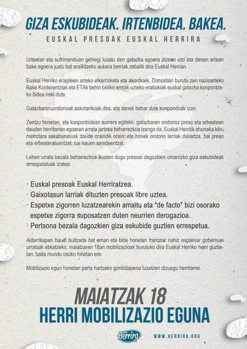 M18 PLAZARA ekimenak presoen oinarrizko giza eskubideen errespetu eskaera zabalduko du plazaz plaza - 1
