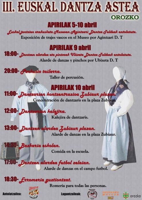 III. Euskal Dantza astea eta VII. Dantzari Eguna egingo dituzte apirilean