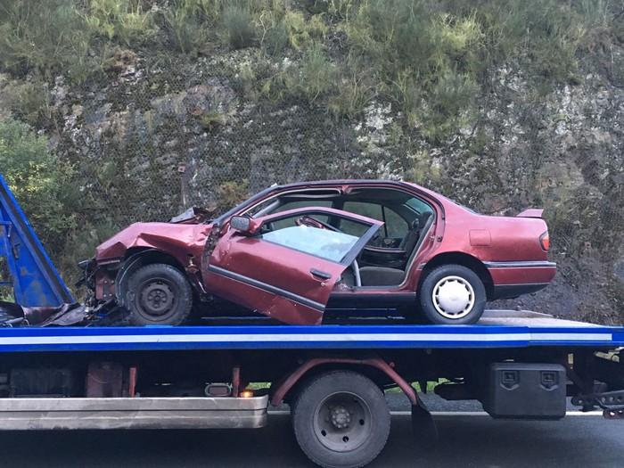 Auto ilarak A-625 errepidean Arrankudiagan istripu baten ondorioz